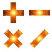 set of mathematical signs, firework - stock illustration