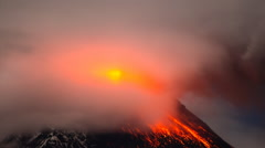 Volcano Eruption with lava, ash and clouds. Tungurahua - Ecuador Stock Footage