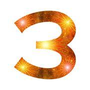 number of orange firework, three - stock illustration