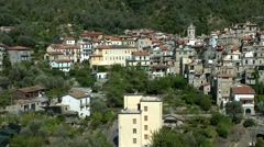 Europe Italy Liguria Airole village 003 view from opposite mountain Stock Footage