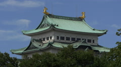 Tower of Nagoya Castle with Moving Clouds Stock Footage