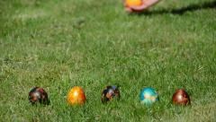 Traditional family Easter game with painted colorful eggs Stock Footage