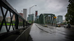 Portland Hawthorne Bridge Rainy Traffic Stock Footage
