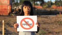First Nations Girl Says NO PIPELINE Stock Footage