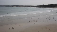Newquay Towan beach North Cornwall with seagulls and waves Stock Footage