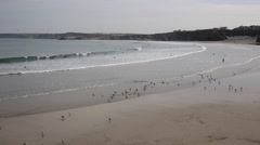 PAN Newquay beach North Cornwall England UK Stock Footage
