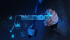businessman hand pointing to investment concept - stock illustration