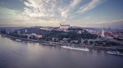 Bratislava castle sunset aerial shot Stock Footage