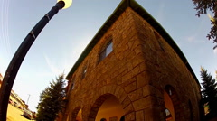Low Angle Stone Office Building With Arches- Flagstaff AZ Stock Footage