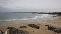 Newquay beach Cornwall England UK PAN Stock Footage