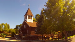 Old Fashioned Stone Chapel Church In Small Town USA Stock Footage