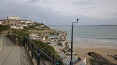 Newquay harbour and Towan beach North Cornwall England UK PAN Stock Footage