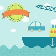 cargo ship with car - stock illustration