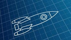 blueprint drawing of the rocket scheme - stock footage
