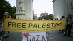 Free Palestine Demonstration Demonstrators Washington Square Park Manhattan NYC - stock footage