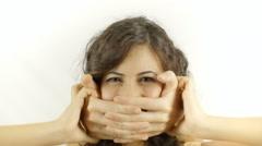 Vintage girl assaulted hands kidnap victim - stock footage