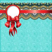 ethnic ornamental pattern with silk ribbon and place for your co - stock illustration