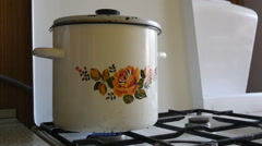Dirty Pot On the Stove Stock Footage