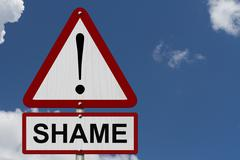 Shame caution sign Stock Photos