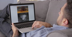 Puerto Rican man looking at photos online Stock Footage