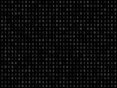 Blink binary code screen black - stock illustration