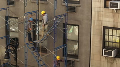 Construction Workers Hardhats Scaffolding Building NYC Union Stock Footage