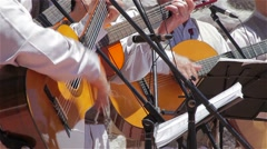 Traditional Canary musicians with guitars  Stock Footage
