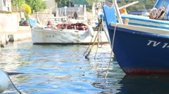 Boats rocking on the waves Stock Footage