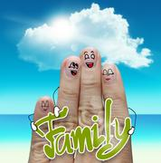 Finger family travels at the beach and family word Stock Illustration