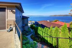 House with beaufitul view on puget sound, tacoma, wa Stock Photos