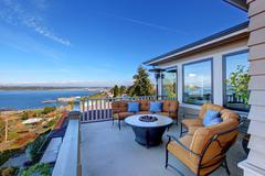 Cozy patio area with puget sound view. tacoma, wa Stock Photos