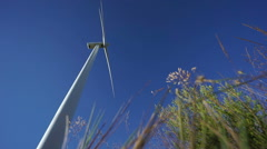 Focusing from rotating wind turbine to directly below plants Stock Footage