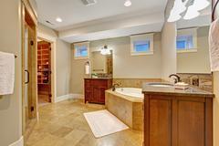 luxury bathroom with granite tile trim - stock photo