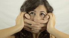 Vintage girl offender hands CU LT - stock footage