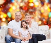 happy family at home - stock photo