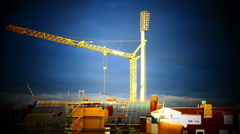 TL Construction Crane against a beautiful red sky Stock Footage