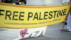Free Palestine Sign Demonstration Washington Square Park Manhattan NYC Stock Footage