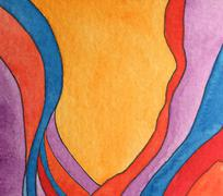 colorful gouache abstract - stock illustration