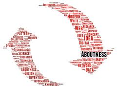 Aboutness word cloud shape Stock Illustration