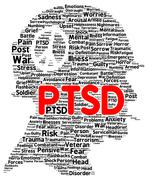 Ptsd word cloud shape Stock Illustration