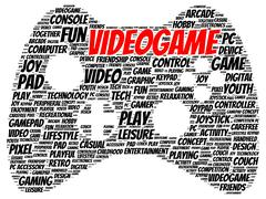 Video game word cloud shape Stock Illustration