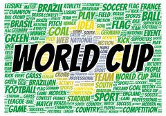 world cup word cloud shape - stock illustration