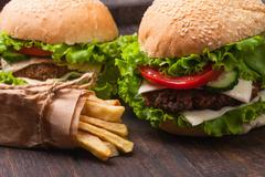 traditional hamburger and french fries . - stock photo