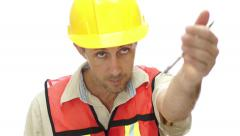 Male Tradesman Boss Hand Signal Stock Footage