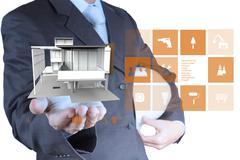 engineer hand shows house model - stock illustration