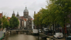 Amsterdam canal old city Stock Footage