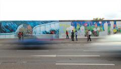 East side gallery of the Berlin Wall Timelapse in 1080p HD - stock footage