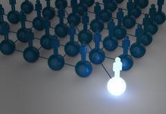 3d light growing human social network and leadership - stock illustration