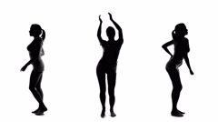 Silhouette of beautiful sexy woman dancing and listening music, collage set  Stock Footage