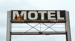 Broken Motel sign. Stock Footage
